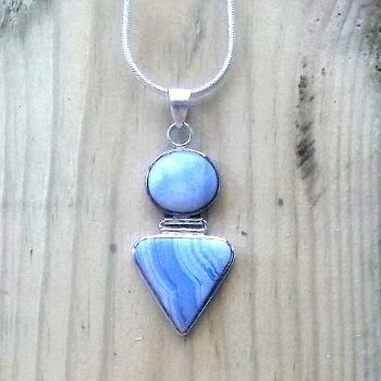 Hinged 2 stone Blue Lace Agate Pendant